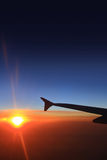 Sunset sky and airplanes Stock Image