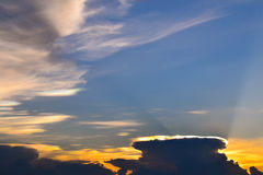 Sunset Sky Background, Irisation or Iridescent clouds Royalty Free Stock Images