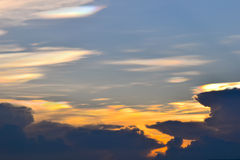 Sunset Sky Background, Irisation or Iridescent clouds Royalty Free Stock Image