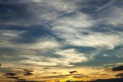 Sunset Sky Background. Photo of the evening sky. Tropical sky. Nice light Royalty Free Stock Photo
