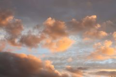 Sunset sky background. Beautiful summer landscape in countryside royalty free stock photo
