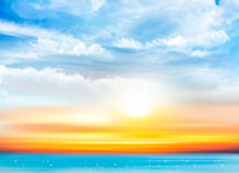 Sunset sky background with transparent clouds and sea. Vector illustration Stock Images