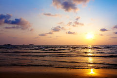 Sunset sky. Beautiful sunset on the beach, sea and sky Stock Images