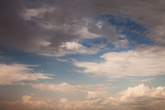 Sunset sky with beautiful clouds. Natural background Royalty Free Stock Photos