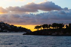 Sunset sky with beautiful clouds over the istanbul islands stock image