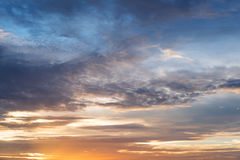 Sunset sky, beautiful summer cloudscape in sunset Royalty Free Stock Photography