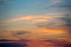 Sunset Sky. Blue, orange, red colors. Bright sunset. Sunset summer sky. Bright sunset. Blue, orange, red colors stock image