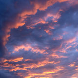Sunset sky. With blue, red and orange colors Stock Images