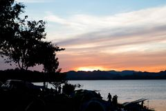Sunset sky in campsite near the lake, Twilight sky, Travel and C. Amping concept Royalty Free Stock Photography
