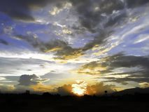 Sunset. In sky with cloud on evening day Royalty Free Stock Photography
