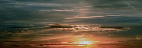 Sunset, Sky, Clouds, Abendstimmung Stock Photography