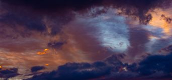 Sunset Sky and Clouds. Beautiful sunset sky with dramatic light stock photo