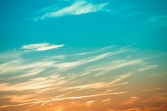Sunset in the sky with clouds Royalty Free Stock Photography