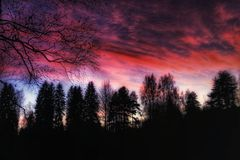 Sunset Sky Clouds Colors Trees Nature Beautiful Stock Photo