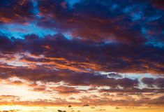 Sunset Sky Clouds. Sunset Sky with deep colorful clouds Stock Image