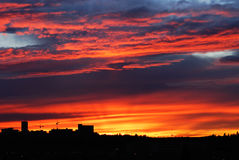 Sunset sky and clouds in edmonton. Beautiful rosy sunset sky and clouds in edmonton, alberta, canada Stock Images