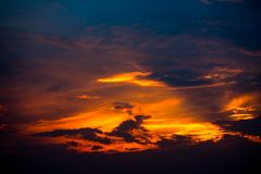 Sunset sky, Dramatic sky with clouds Royalty Free Stock Images
