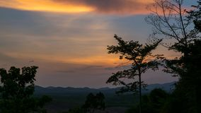 Sunset sky in evening time at rubber tree plantation with silhouette of tree at Khao Chamao Rayong, Timelapse. Sunset sky in evening time at Rubber tree in row stock video