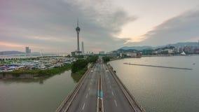 Sunset sky famous macau traffic road tower bay panorama 4k time lapse china stock footage