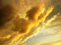 Fire in the sky. Sunset Royalty Free Stock Photos