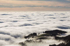 Sunset sky and foggy valley in black forest, Germany Royalty Free Stock Images