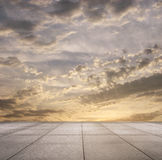 Sunset sky and grey floor Royalty Free Stock Image