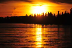 Sunset sky and ice lake Royalty Free Stock Images