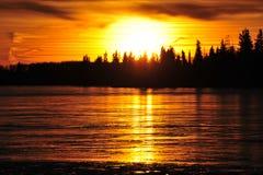 Sunset sky and ice lake Royalty Free Stock Image