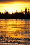 Sunset sky and ice lake Royalty Free Stock Photography