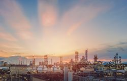 Sunset sky with industry. Sky sunset with in petrochemical plant view Royalty Free Stock Photos