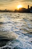 Sunset in the sky of Istanbul with sea wave royalty free stock image