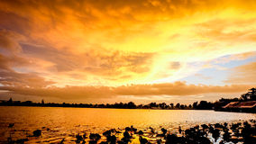 Sunset with sky. Sunset  with lagoon in Ratchaburi Thailand Royalty Free Stock Photography
