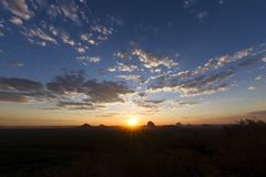 Sunset sky landscape. Of the Glasshouse Mountains in the Sunshine Coast Hinterland Stock Photography