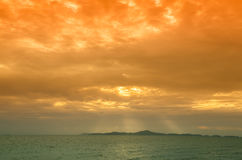 Sunset Sky With Lighted Clouds Royalty Free Stock Images