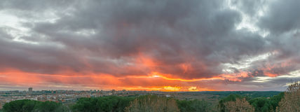 Sunset sky in Madrid Stock Photography