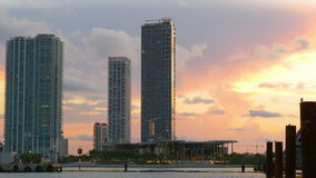 Sunset sky miami downtown famous apartment buildings 4k usa stock footage