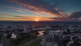 Sunset sky minsk nemiga river center aerial panorama 4k time lapse belarus stock video