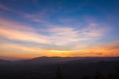 Sunset sky and mountain Stock Photo