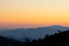 Sunset sky of mountain view at chiang dao, Thailand Royalty Free Stock Images