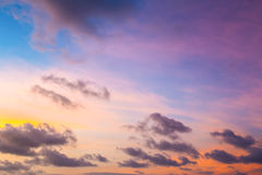 Sunset sky with multicolor clouds. Thai Stock Photos