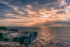 Sunset sky and ocean seascape nature background. Scene stock photos