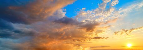 Sunset sky in orange and blue Stock Image