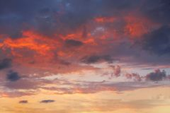 Sunset sky in orange and blue Royalty Free Stock Image
