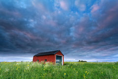 Sunset sky over farmhouse on rape field Stock Photos