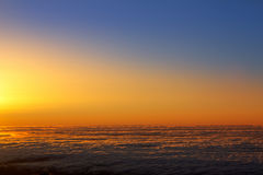 Sunset sky over haze sea of clouds in La Palma. Of Canary Islands Royalty Free Stock Photos