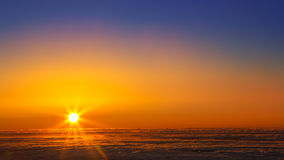 Sunset sky over haze sea of clouds in La Palma Royalty Free Stock Images