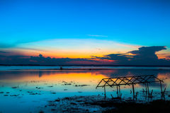 Free Sunset Sky Over Lake Or River And Home With Flood At Twilight Royalty Free Stock Photos - 45808988