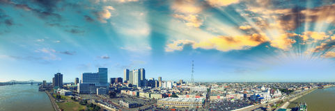 Sunset sky over New Orleans. Aerial view of city and river Royalty Free Stock Photos