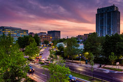 Sunset sky over Towson, Maryland. stock photo