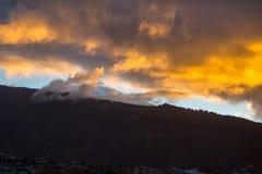 Sunset sky over volcano Teide Stock Image
